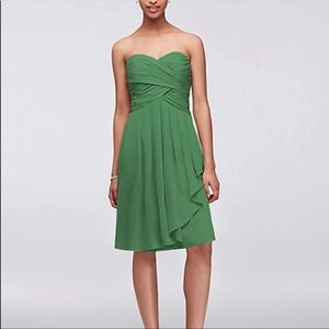 Crinkle Chiffon Dress with Cascade Detail Clover